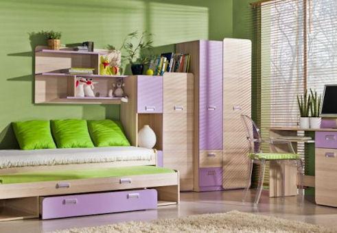 Dětský pokoj Ego v dekoru jasan-fialová