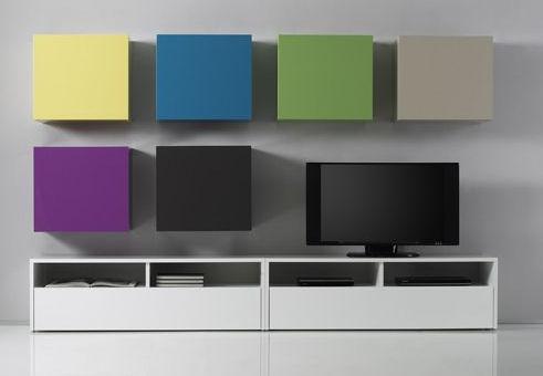Obývací stěna Element s modrými částmi