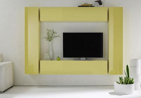 Obývací stěna Element se žlutými prvky