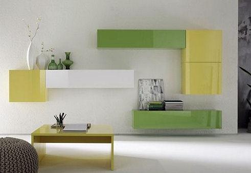 Obývací staně Element se zelenými částmi