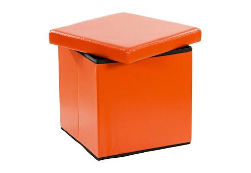 Taburet s odkládacím prostorem - oranžový